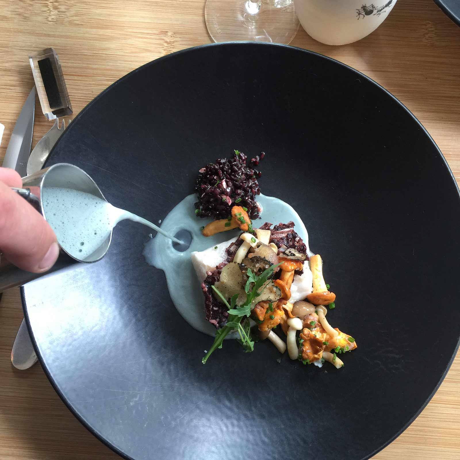 Photo du plat signature du chef étoilé Eric Guerin : Carrelet juste cuit salade de riz vénéré aux saveurs sous bois printaniers bouillon spiruline