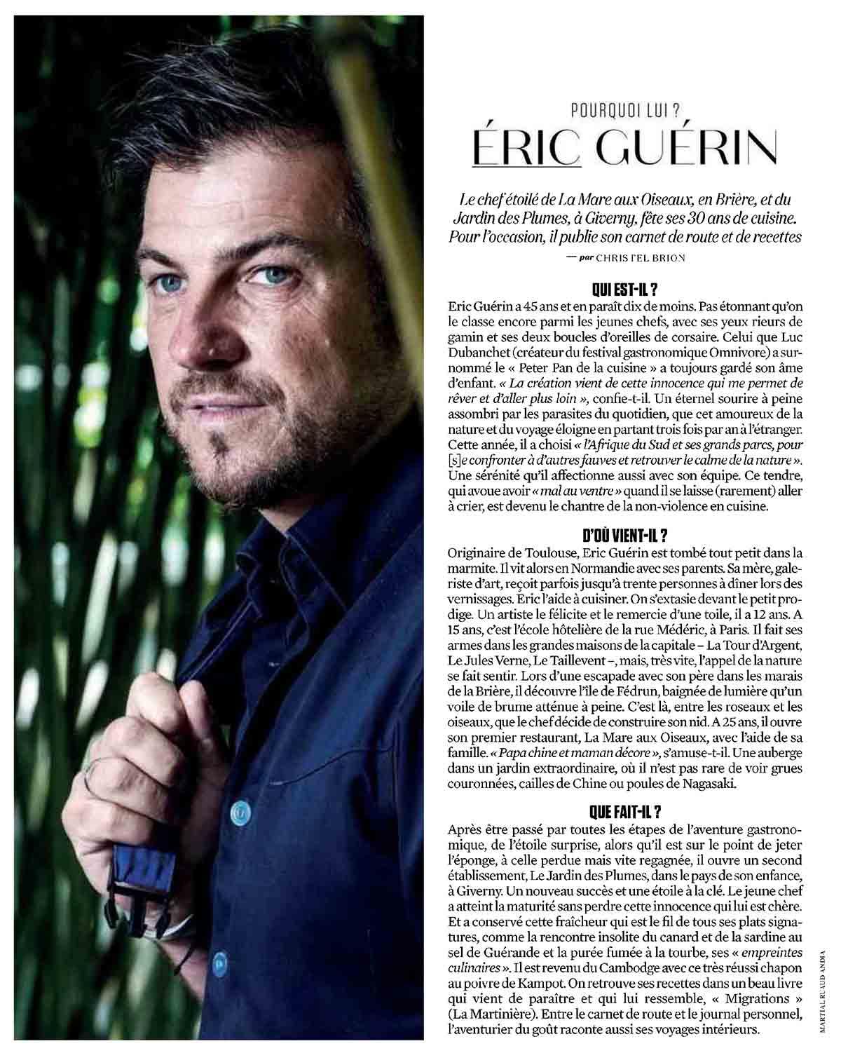 article consacré au chef Eric Guerin dans la magazine L'Obs du 5 novembre