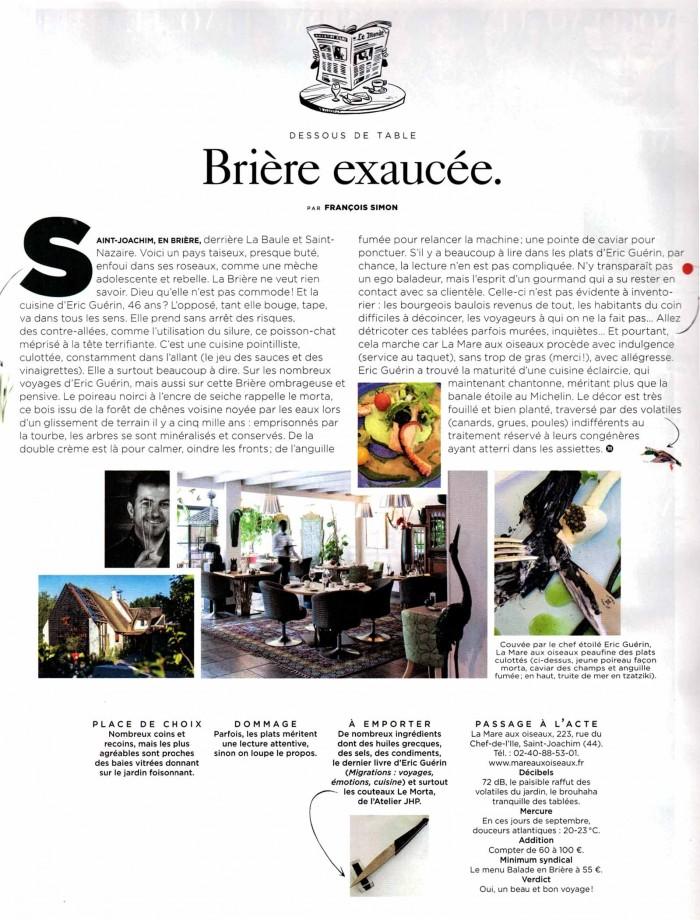 article du critique gastronomique François Simon, paru dans le monde et parlant d'u chef Eric Guerin et de son restaurant la Mare aux Oiseaux